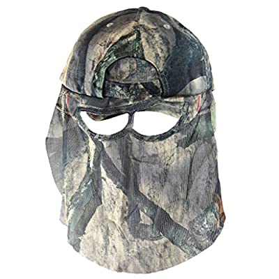 QuikCamo Mossy Oak TreeStand Camouflage Cap Camo Hunting Hat with Front Model Face Mask Technology