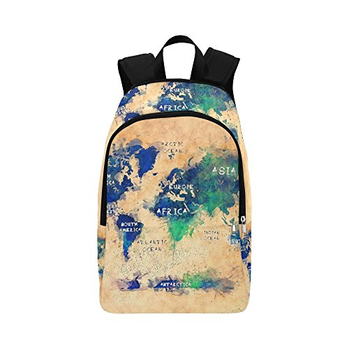 InterestPrint world map OCEANS and continents Casual Shoulders Backpack Travel Bag School Backpacks