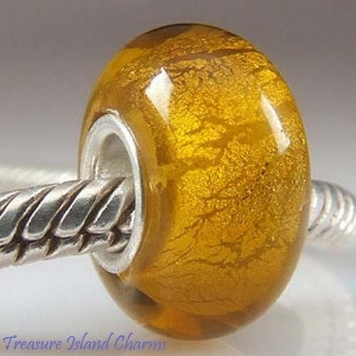 Yellow Amber with FOIL Murano Glass .925 Sterling Silver European Bead Charm Ideal Gifts, Pendant, Charms, DIY Crafting, Gift Set from Heart by Wholesale Charms