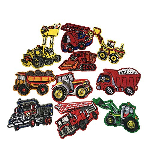 (FJTANG 10pcs Construction Vehicle Truck Embroidery Patches Iron On Appliques)
