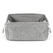 uxcell® Fabric Storage Basket, Laundry Basket, Collapsible Organizer Bedroom Bin w Dual Handles for Office, Closet, Kitchen Toy Clothes (Gray,S)