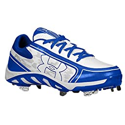 Under Armour Women\'s Spine Glyde St Cc Metal Fastpitch Cleat, White/Royal, SZ 10