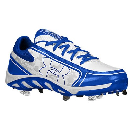 Under Armour Women's Spine Glyde St Cc Metal Fastpitch Cleat, White/Royal, SZ 10