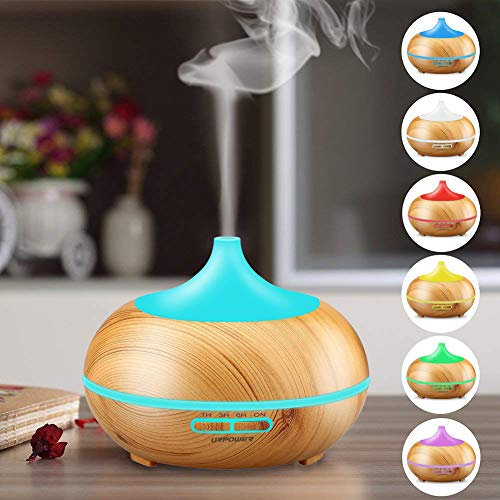 URPOWER Oil Diffuser 300ml Wood Ultrasonic Cool Mist Whisper-Quiet with Color Changing 4 Settings, Waterless Auto Shut-Off for Baby Home