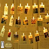 40 LEDs String Lights with 8 Modes Remote Control and Photo Clips, 17ft Wedding Party Home Wall Christmas Tree Lights for Hanging Pictures Cards and Artwork