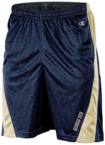 Champion (CHAFK) NCAA Georgia Tech Adult Men Training Short with Contr, Large, Navy Heather Georgia Tech Mens Shorts