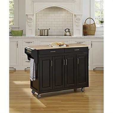 Home Styles 9200-1041 Create-a-Cart 9200 Series Cabinet Kitchen Cart with Wood Top, Black Finish