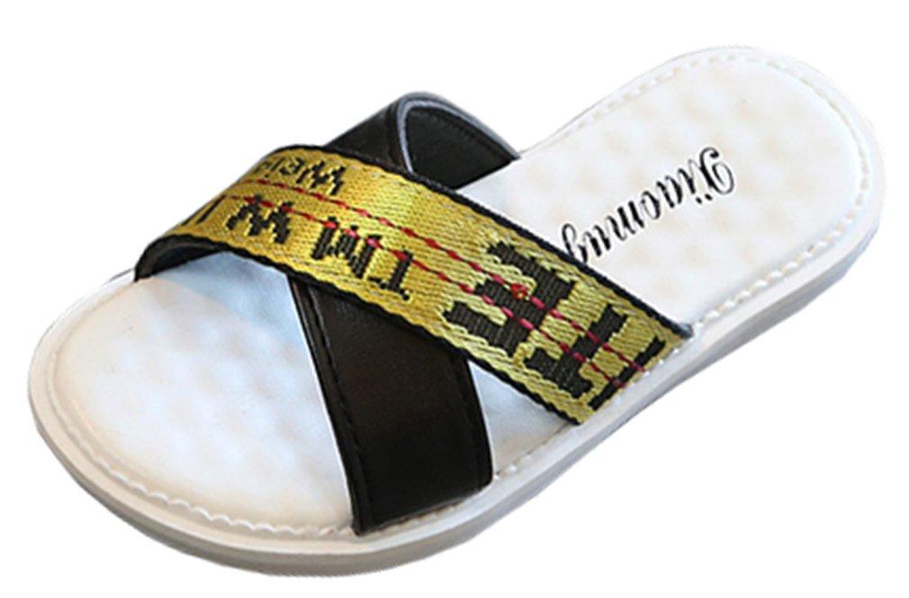 VECJUNIA Boy's Girl's Slide On Flat Slippers Anti-Skid Cross-Strap Indoor Shoes (Black, 11 M US Little Kid)
