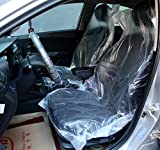 Emoyi Auto Disposable Clear Plastic Seat Covers Protector Mechanic Valet, Pack of 100