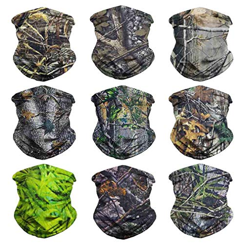 - Eytan 9 Pcs Camouflage Leaves Multifunctional Headwear Camo Face Shield Neck Gaiter Scarf Wrap Headband for Hunting with UV Resistance - Magic Sports Seamless Tube Face Mask Bandana (Camo Leaves)