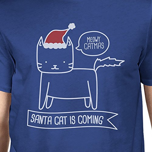 Un Hombres est Meowy o 365 tama corta camiseta manga Cat Santa Printing de Catmas 5B5wxqfYZ