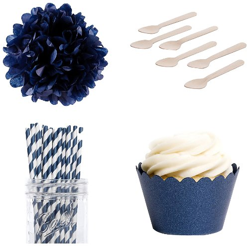 Dress My Cupcake Dessert Table Party Bundle, Mini, Metallic Navy Blue