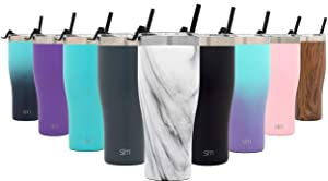 Simple Modern 32oz Slim Cruiser Tumbler with Straw & Closing Lid Travel Mug - Gift Double Wall Vacuum Insulated - 18/8 Stainless Steel Water Bottle Pattern: Carrara Marble