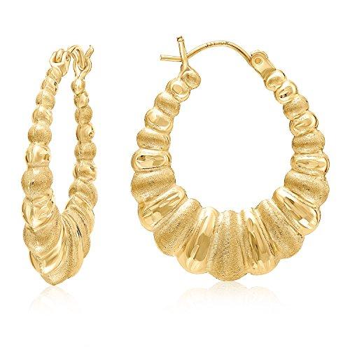 MCS Jewelry 10 Karat Yellow Gold Design Shrimp Hoop Earrings (Diameter: 23 mm) ()