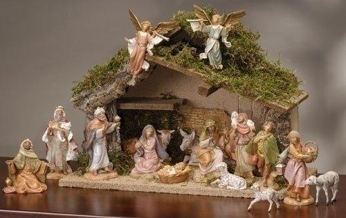 17-Piece Fontanini 5'' Christmas Nativity Figure Set with Italian Stable #54492