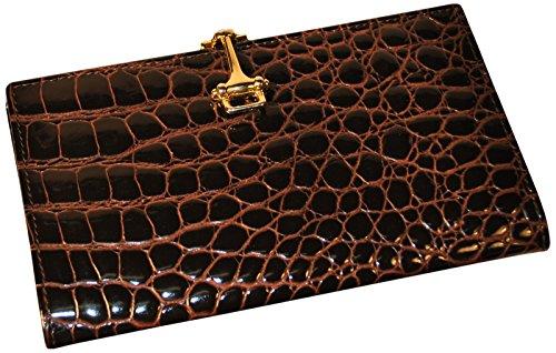 Budd Leather Croco Bidente Checkbook Cover with Clip, (Desk Set Checkbook Cover)