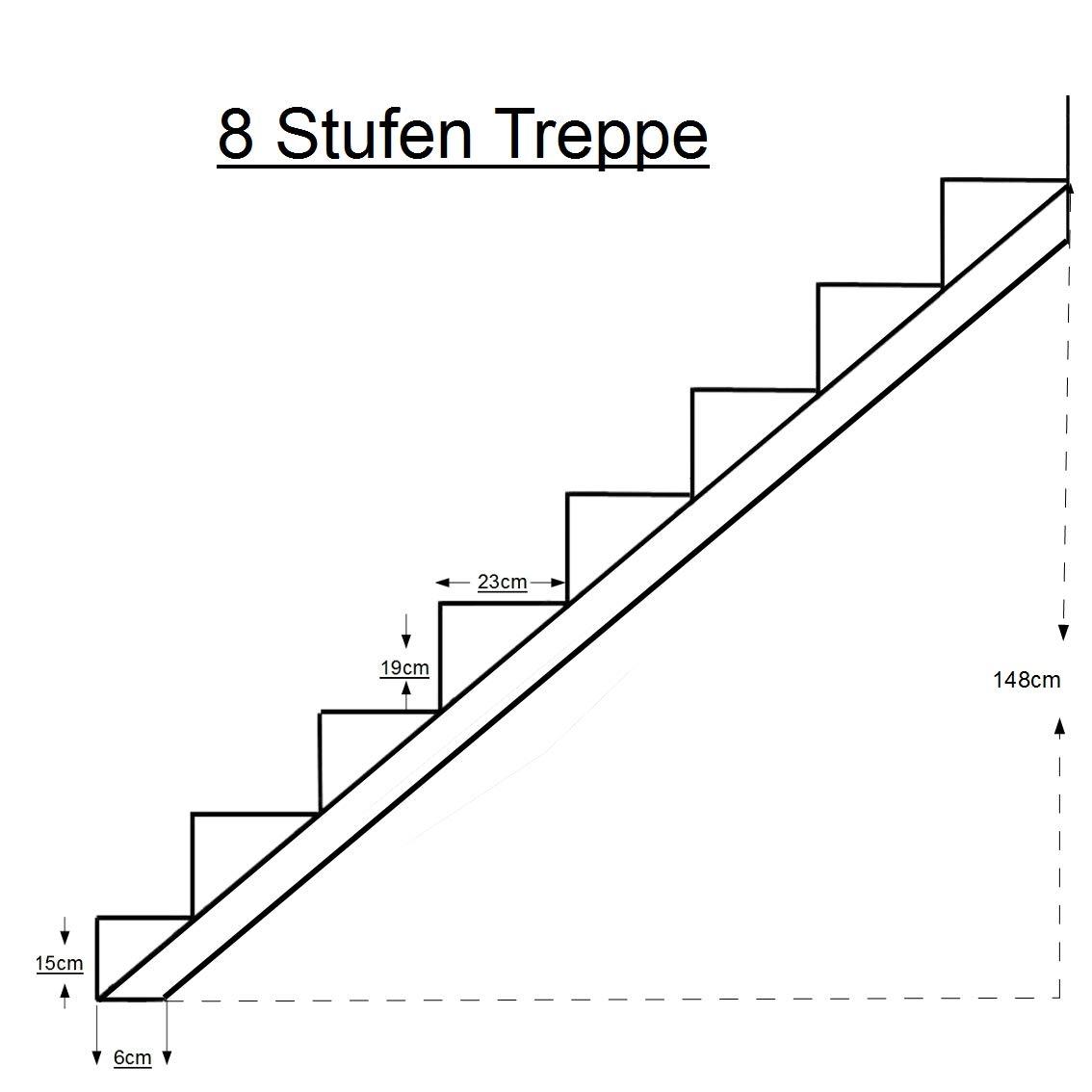 Treppenrahmen 2-10 Stufen-Wahl Stahl-Treppe Schwarz Treppenholm//W/ählen Sie die Stufen-Anzahl 7 stufig