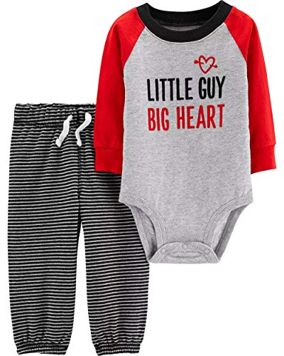 Kids Valentines Outfits (Carter's Baby Boys' 2 Piece Valentine's Day Set (6 Months), Grey, Red,)