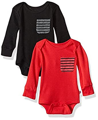 Rosie Pope Baby Boys 2 Pack Long Sleeve Bodysuits, Black/Red, 0-3 Months