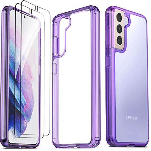 Ferilinso for Samsung Galaxy S21 Case with 2 Pack Tempered Glass Screen Protector [Hard PC Back+TPU Flexible Frame] [Military Grade Protection] [10X Anti-Yellowing] [Full Body Coverage]-Purple Cover