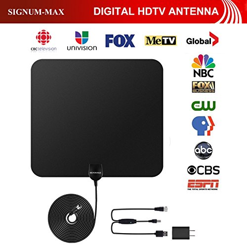 NEW ,2018 UPGRADED ,TV Antenna, SIGNUM-MAX 50+ Mile Range, with HDTV amplifier booster for indoor, extra long 17.2 feet coaxial cable. FULL 1080 HD - Max Range