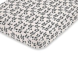 NoJo Super Soft Taupe, Black & White Playful Panda Fitted Crib Sheet, Taupe, Black, White