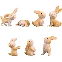 EXCEART 7pcs Miniature Rabbits Mini Animals Figurine Fairy Garden Miniature Micro Landscape Decoration Bonsai Ornament…