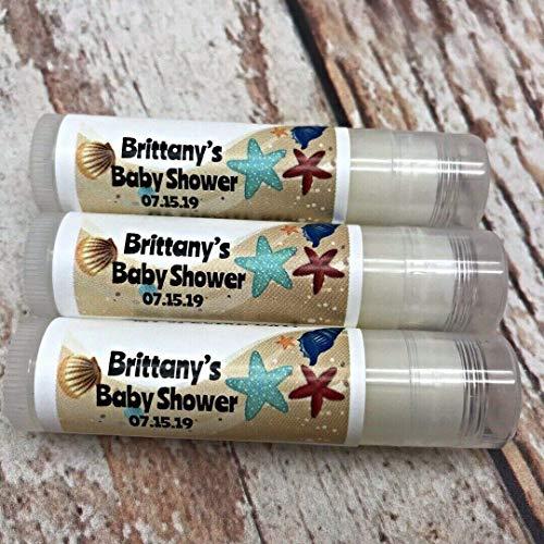 15 Beach Lip Balm Favors - Beach Bridal Shower Favors - Beach Theme Favors - Personalized Favors - Lip Balm Favors
