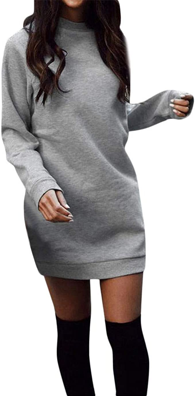 Damen Sweatshirts Lange Pullover Kleid Winter Herbst Pulli Kleid Mode  Langarmshirt Basic T Shirt Kleid Langarm Oberteile Tops Bodycon Kleid