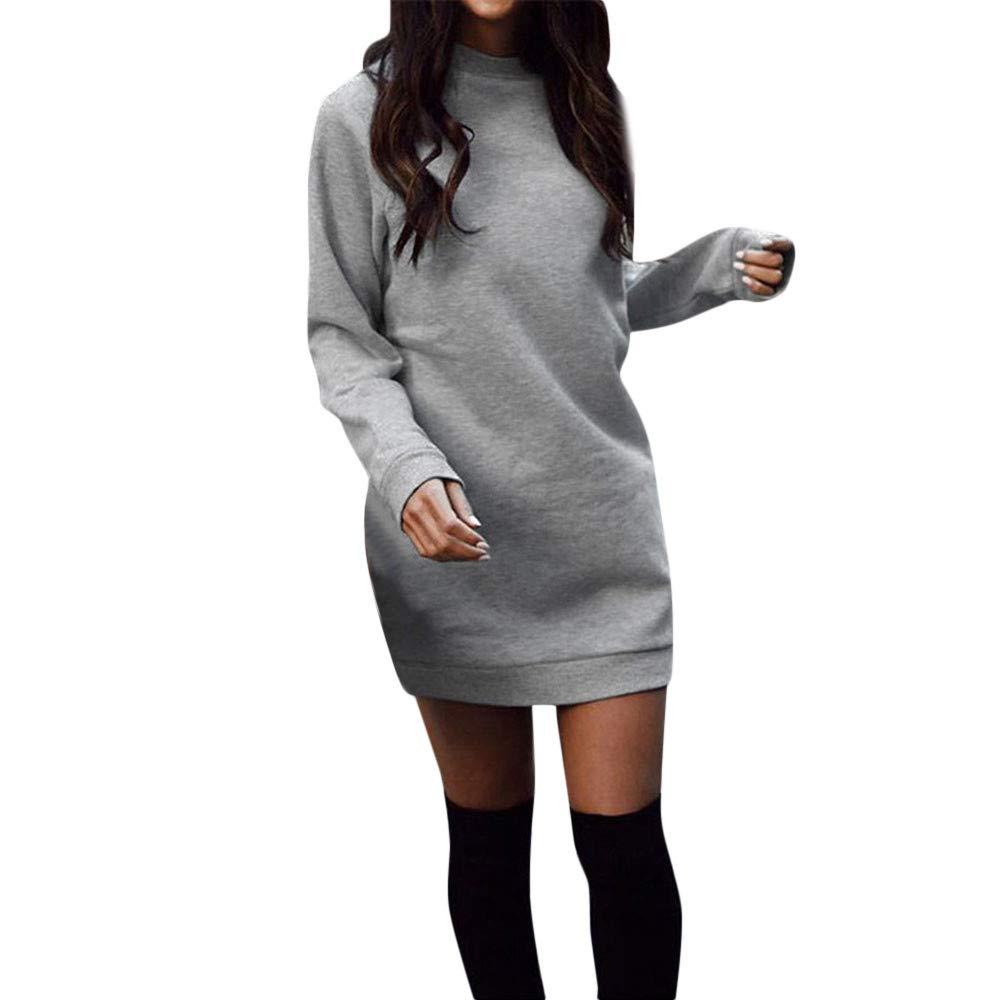 Vovotrade Women Winter Dress Ladies Casual Round Neck Dress Solid Long Sleeve Bodycon Party Dress Sweatshirt Dress Mini Dress