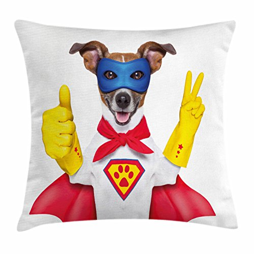 Superhero Throw Pillow Cushion Cover by Ambesonne, Super Puppy Hero Dog in Cape and Mask Costume Humor Funny Cute Picture, Decorative Square Accent Pillow Case, 20 X 20 Inches, Red Yellow Royal Blue
