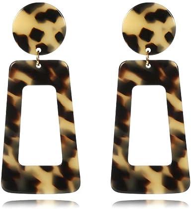 Square earrings Leopard earrings Three color acrylic earrings Trendy earrings Handmade earrings Square acrylic stud earrings