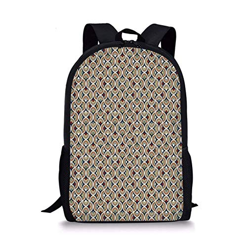 ZOZGETU backpack School Bags Geometric,Abstract Mosaic with Half Spirals Forming Digital Circle Lace Display Decorative,Sepia Ruby Dark Blue for Boys&Girls Mens Sport Daypack (Tamrac Strap Brown)