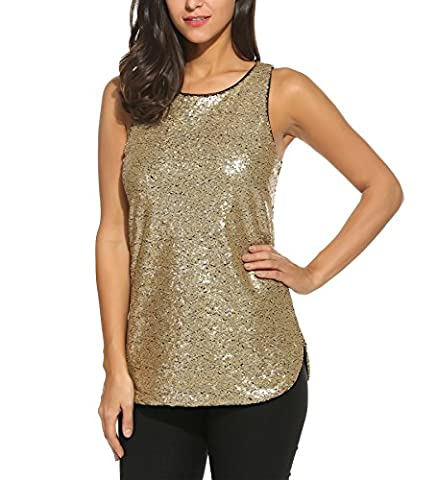 Zeagoo Women's Tank Tops Shimmer Sequined Glitter Double Side Slit Loose Fit Sparkle Camisoles Vest Top - Womens Shimmer