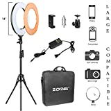 Zomei Camera Photo/Video 14''Outer 12''Inner 480W 5500K Ring Fluorescent Flash Light with Stand Perfect for Youtube Facebook Live Stream