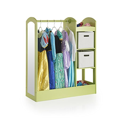 Guidecraft See and Store Dress-up Center - Light Green: Wardrobe for Toddlers with Mirror & Shelves, Clothes Storage with Bottom Tray - Kids' Room Organizer, Wooden Furniture