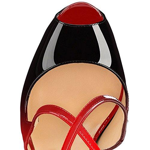 Negro Zapatos Crossstrap Peep Tacones Rojo 15CM Plataforma para Fiestas Aguja Oficina ELASHE Tacón de 4CM Mujer Toe Mujer SwaBdSqt