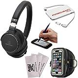 Audio-Technica ATH-SR5BT Wireless On-Ear High-Resolution Headphones (Black) + 5000mAh Charger + Sports Armband Case + Kit