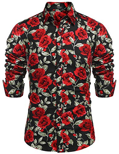 COOFANDY Men's Rose Floral Print Casual Cotton Long Sleeve Button Down ()