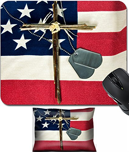MSD Mouse Wrist Rest and Small Mousepad Set, 2pc Wrist Support design: 6731369 Military dog tags and cross on American flag]()