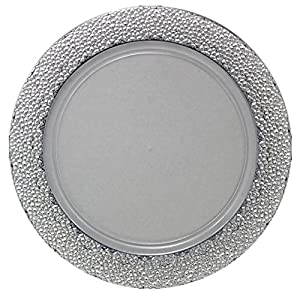Amazon.com | Posh Setting Clear Charger Plates, Silver Hammered ...