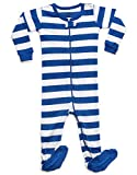 Leveret Striped Footed Pajama Sleeper 100% Cotton (3-6 Months, Blue & White)