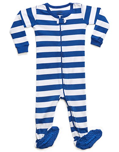 Striped Baby Boy Pajama Sleeper 100% Cotton (2 Years, Blue & (White Boys Pajamas)