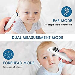 Ear Thermometer for Fever with Forehead & Temporal Function - FDA Approved for Baby, Kids and Adults - Instant and Accurate - Medical Infrared Thermometer with Digital Indicator for Domestic Care