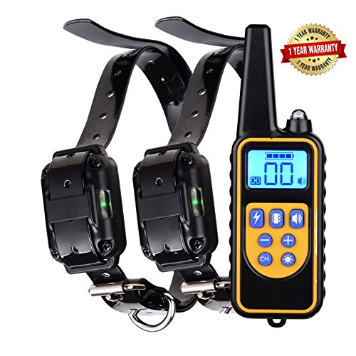 Pet Pager Vibration Control Trainer (Dog training collar rechargeable and waterproof bark stop anti no barking devices with remote control sound vibration shock pet behavior collar for small medium large dogs 800 yards range (for 2 dogs))