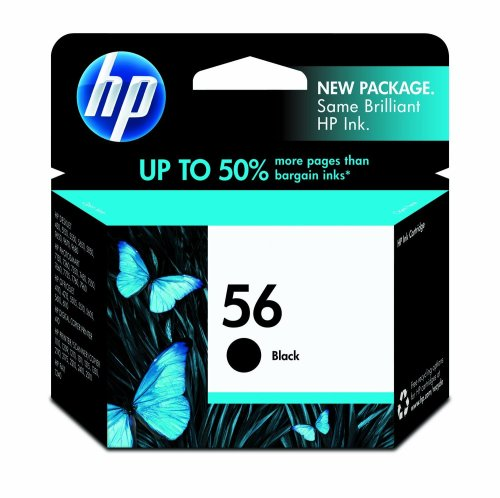 HP 56 Black Ink Cartridge (C6656AN) for HP Deskjet 450 5550 5650 5850 9650 9680 HP Officejet 4215 5610 6110 HP Photosmart 7260 7350 7450 7550 7755 7760 7762 7960 ()