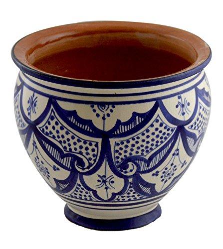 Flower Pot Moroccan Spanish Garden Drain Hole Ceramic Planter Handmade Blue - Glazed Porcelain Handcrafted