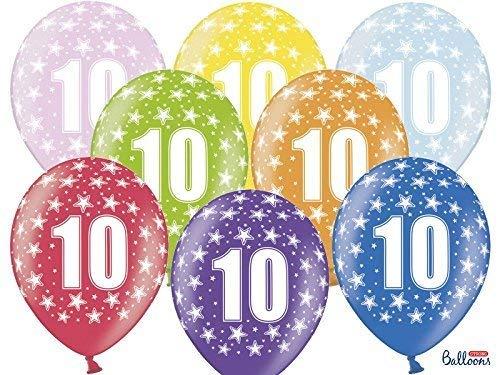 12 PEZZI Palloncini LATTICE 30 CM numero 10 COMPLEANNO 10 ANNI