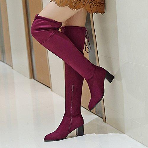 Avec Eclair Bloc Bout mollet Lacet Elegantes Pour Et L'hiver Confortables Bottes Bordeaux Uh Moyen Pointu Fermeture Mi Talons Suede Femmes À zfPw8W41qZ