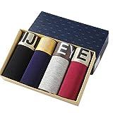 Quicksilk Men's 4 Pack Comfortable Bamboo Fiber Boxer Briefs (S/28-30 Inches, D)
